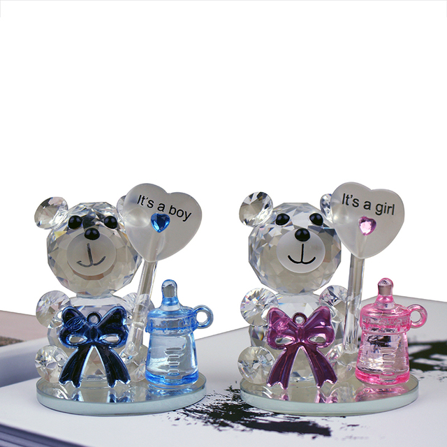 12pcs/lot High Quality Crystal Bear Nipple Baby Shower Souvenirs Christening Party Favors Gifts