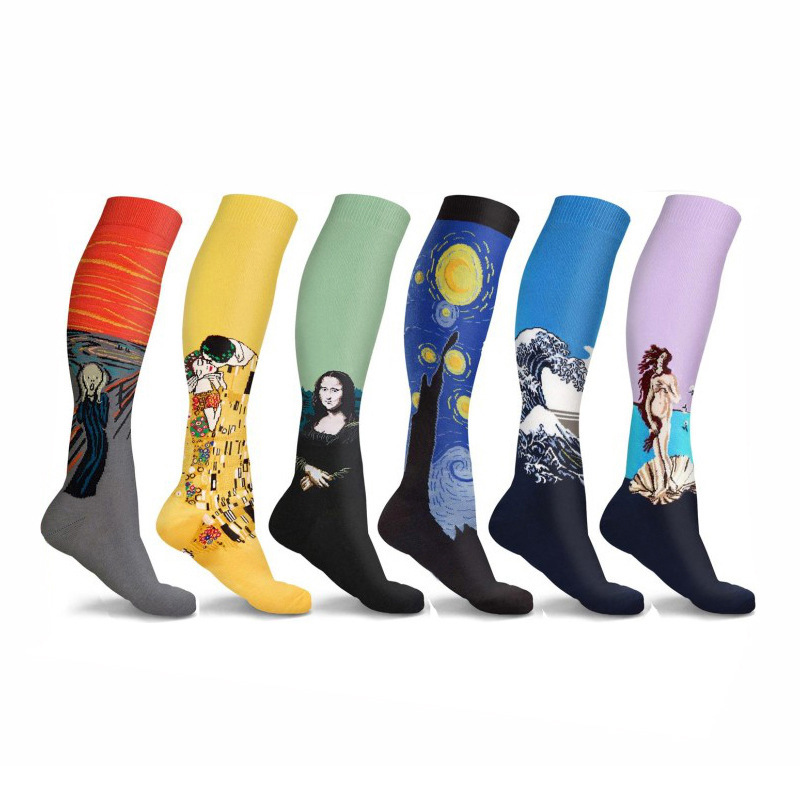 PEONFLY Compression Socks Man Woman Oil Painting Leg Pressure Stockings Mona Lisa Famous Painting Nylon Compress Running Sport