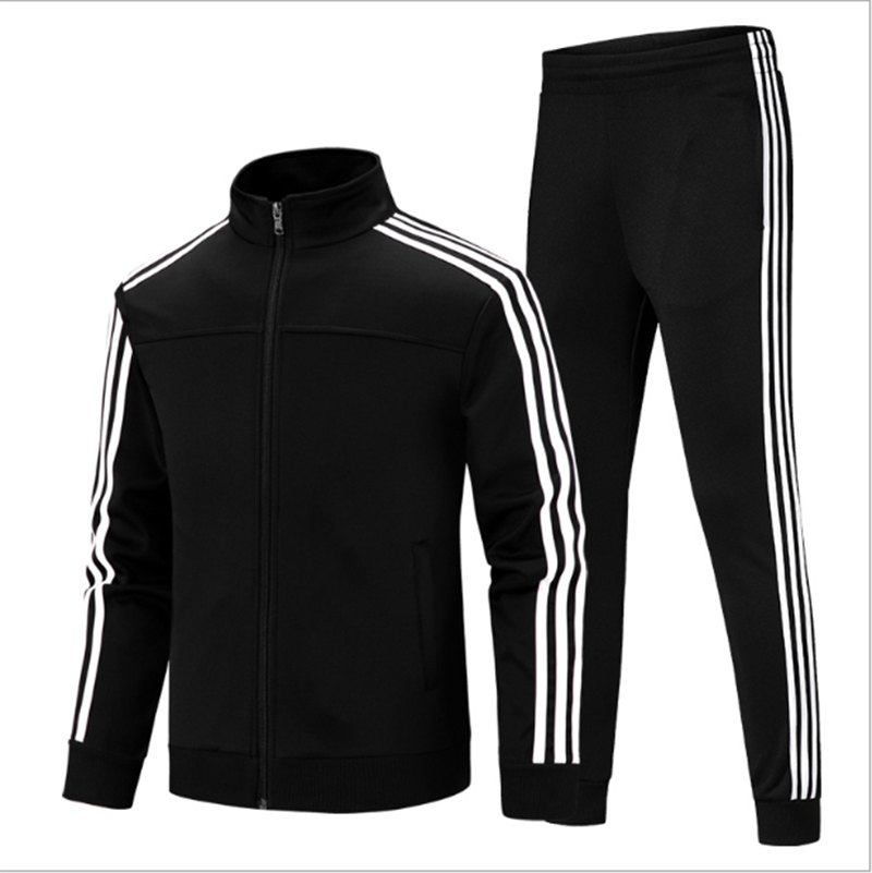 Casual Sportswear Men's Fashion Slim Korean Classic Stripe Two-Piece Cardigan Zip Jacket + Sports Pants Jogging Trousers