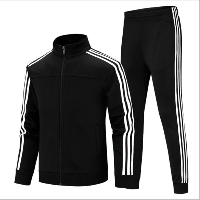 Casual Sportswear Men's Fashion Slim Korean Classic Stripe Two-Piece Cardigan Zip Jacket + Sports Pants Jogging Trousers