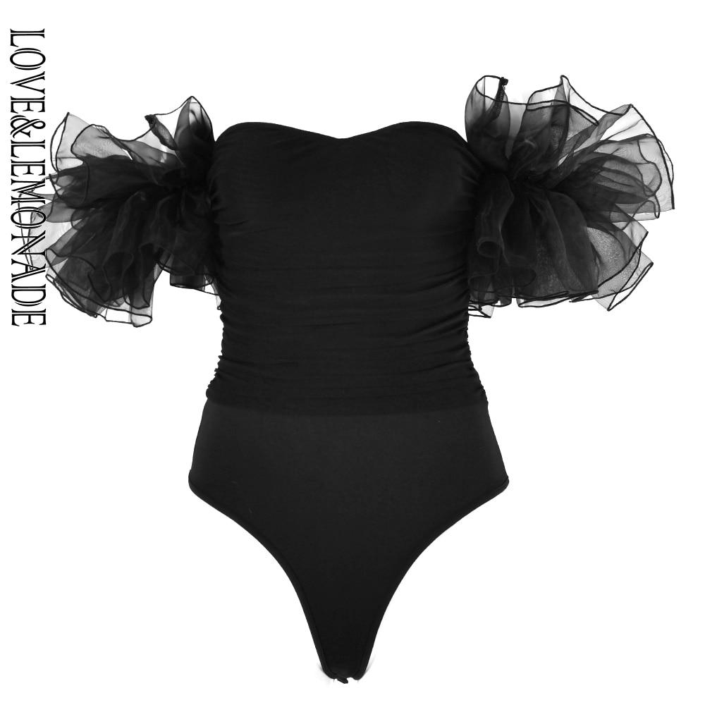 LOVE & LEMOANDE Sexy Black Tube Top Pleated Mesh Ruffled Bodysuit LM90215