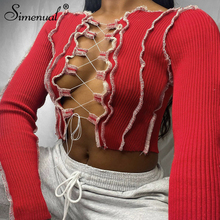 Simenual Patchwork Lace Up Long Sleeve Crop Tops Women Ribbed Sexy Party Knitwear T-Shirt Hollow Out Bodycon Club Tie Front Top