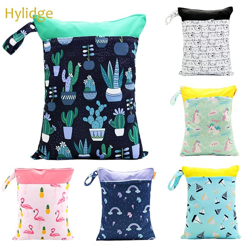 Hylidge Double Pocket Reusable Cotton Stroller Bag Organizer For Baby Nappies Reusable Snack Cloth Bag Handle Wetbags 30*40CM