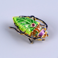 Vintage Beetle Enamel Pin Zircon Inlay Thai Silver Insect Brooch Gift Jewelry Silver Brooches For Women Men Luxury Broche SBH10