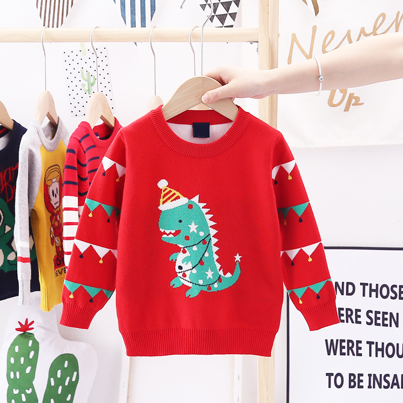 2020 Autumn Winter Christmas Kids Sweaters Knitting Pullover Baby Children Clothes Toddler Girls Fleece Soft Warm Sweater 3-10Y 2