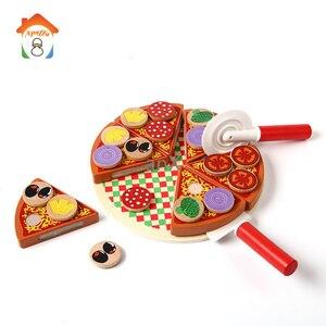 Image 1 - 27 sztuk Pizza drewniane zabawki jedzenie gotowanie symulacja zastawa stołowa dzieci kuchnia udawaj zagraj w zabawkę owoce warzywa z zastawą stołową