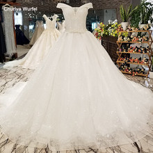 LS35644 ivory off shoulder wedding dress full of beadings v neck natural gown low price quick shipping from china online shop(China)
