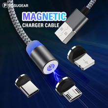 все цены на Posugear Magnetic USB Cable 3 in 1 Fast Charging USB Type C Cable Magnet Charger Wire Micro USB Mobile Phone Cable For iPhone онлайн
