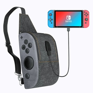 Image 1 - OIVO Storage Bag for Nintendo Switch Console Controller Waterproof Denim Backpack USB Charging Port Large Space Crossbody Bag