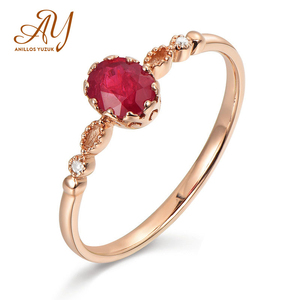 Anillos Yuzuk Simple 100% 925 Sterling Silver Natural Oval Ruby Gemstone Wedding Engagement Rose Gold Ring Jewelry Wholesale