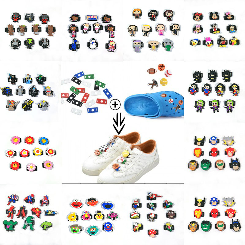 10pcs/Lot Novelty Cartoon Sweet Minnie Avengers Spider Mario Sports Shoe Shoelace Charms Accessories For Boys Girls Kids Gifts
