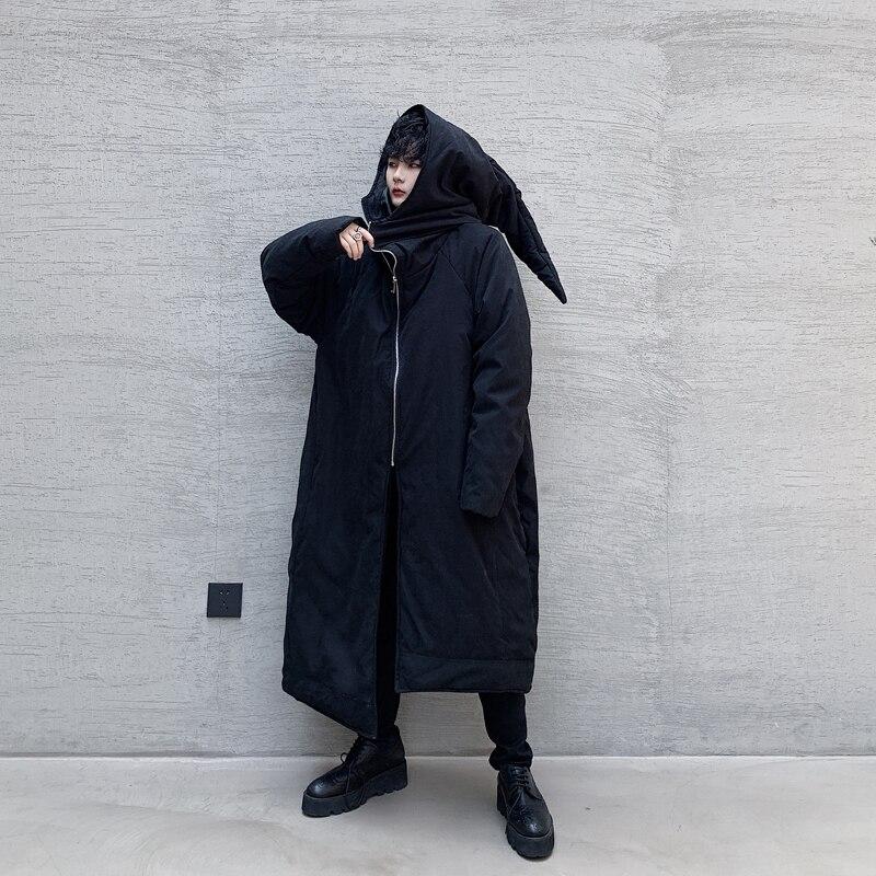 SHENGYUJIN ZY 1 hiver sorcière chapeau conception asymétrique longue en vrac coton costume marée hommes épais coton manteau - 6