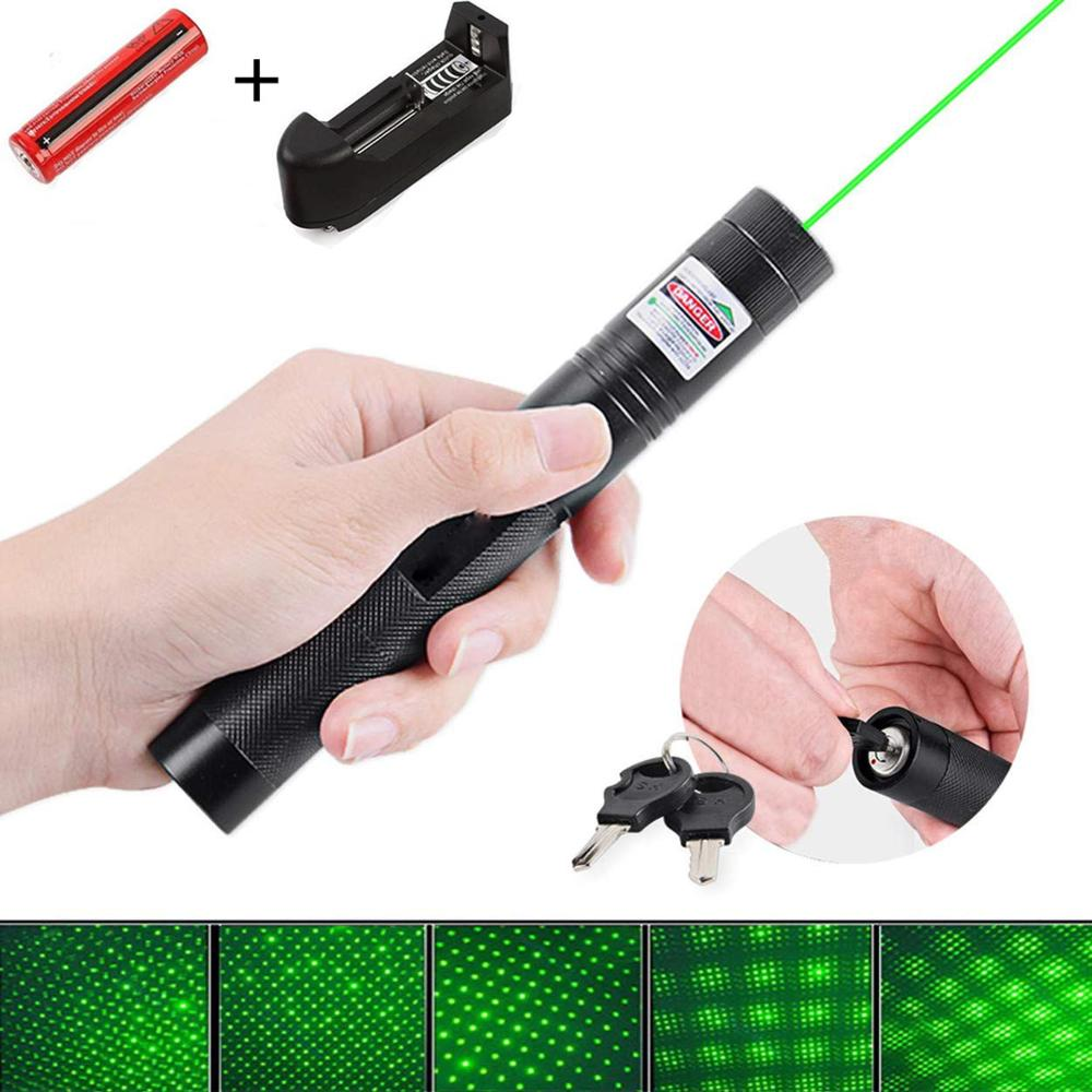 High Power Green Hunting Laser Pointer 10000m 532nm Lazer Rechargeable Pointer Pen 18560 Battery Adjustable Focus for Hiking