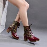 2019 nouveau Style ethnique à lacets femmes bottines en cuir imprimé à la main rétro chaussures femme bloc bottes à talons hauts grande taille 42