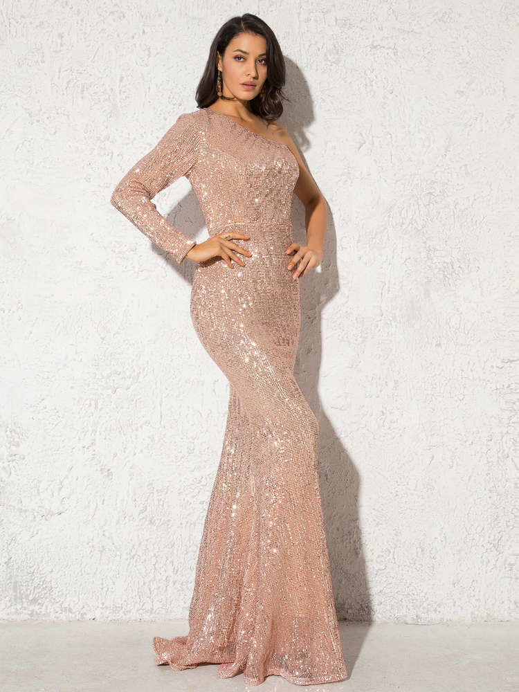 One Shoulder Stretchy Backless Sequin Long Bridesmaid Dress 8