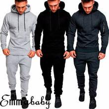 Conjunto de agasalho dos homens dos ginásios 2018 moda esportiva dos homens hoodies + calças compridas casual outwear ternos chandal hombre completo