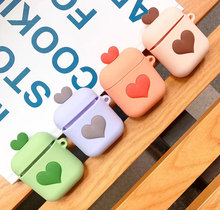 Heart Silicone Shock Proof Protector Sleeve For Apple AirPods Case Skin Cover for True Wireless Earphone box accessories