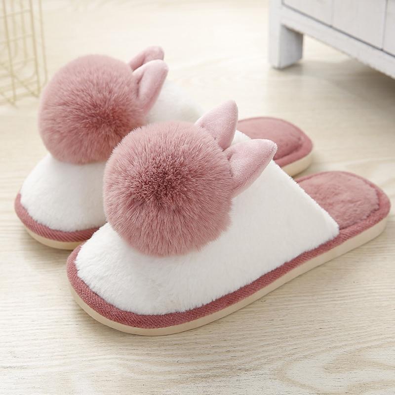 Меховые тапочки; Женская домашняя обувь с милым кроликом; Сезон зима 2020 года; Нескользящие теплые плюшевые меховые домашние тапочки для девочек; Красивая Спальня Тапочки      АлиЭкспресс
