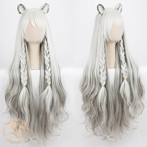 Image 5 - DIOCOS Arknights AMIYA Siege Jetfire Silver Grey Cosplay Wigs Heat Resistant Synthetic Wig for Halloween Party