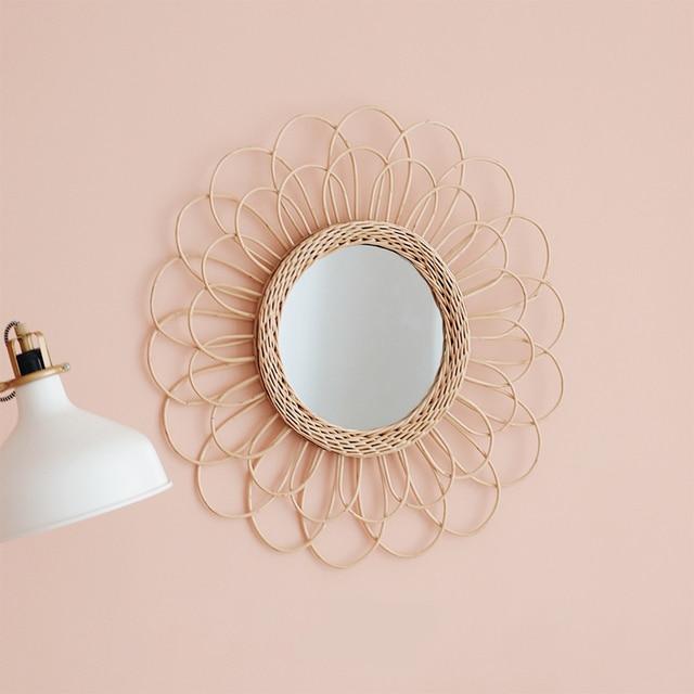 Home Rattan Plaited Art Living Room Nordic Style Makeup Decorative Mirror Wall Hanging Bedroom Bathroom Photography Prop 6