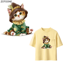 ZOTOONE Cartoon Animal Patches Cute Cat Sticker for Kids Iron on Transfers Clothes T-shirt DIY Heat Transfer Appliques G