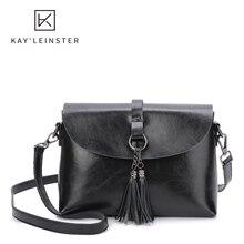 Oil Wax Leather Women Crossbody Bag Genuine Leather Tassel F