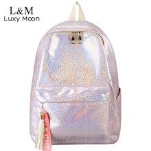 2021 Women Silver Laser Backpack Glitter Bling School Bag Teenage Girls Large Fashion Sequins Rucksack Stundents Bags XA822H