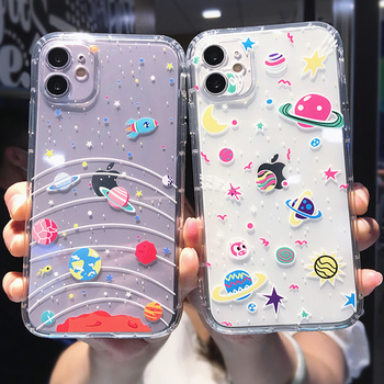 moskado Cartoon Starry Sky Shockproof Phone Cover For iPhone 11 Pro Max X XR XS Max 7 8 7Plus Soft Silicone TPU Case Clear Cover image