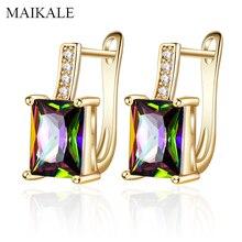 Maikale классический квадратный Цвет Фул кубического циркония Золотая Сережка-гвоздик серебро Цвет покрытием драгоценными камнями серьги AAA CZ для Для женщин ювелирные подарки