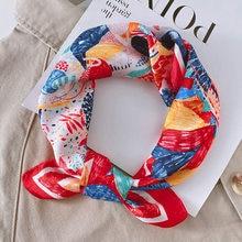 100% real lenço de seda das mulheres de luxo marca impressão pequenos cachecóis para o cabelo pescoço capa foulard feminino lenço bandana 2021 novo