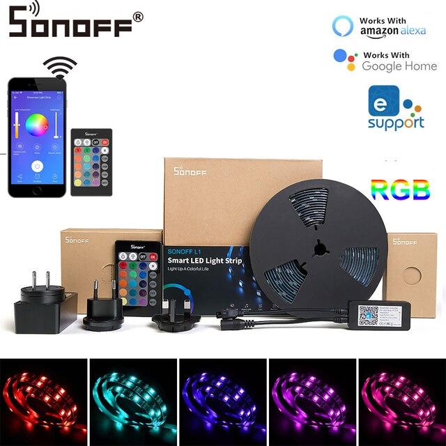 2019 nouveau Sonoff L1 Smart LED bande de lumière WiFi contrôle Dimmable Flexible bande de lumières rvb bande Compatible avec Alexa Google Home