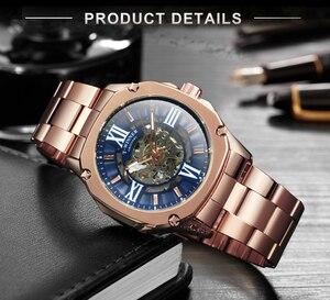 Image 4 - Kazanan resmi moda otomatik izle erkekler İskelet mekanik erkek saatler Top marka lüks paslanmaz çelik kare kol saati