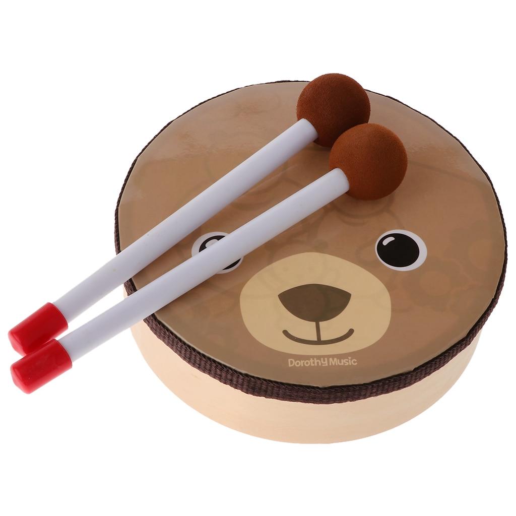 Мультяшный Мишка с рисунком, барабан, музыкальная игрушка, ударный инструмент с ремешком для детей