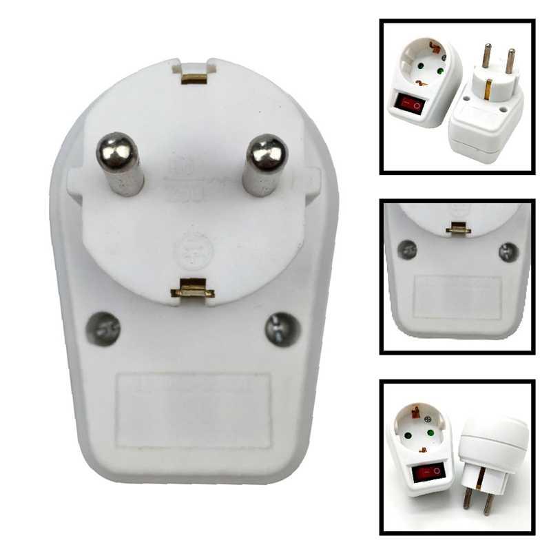 Avrupa tipi dönüşüm fişi 1 ila 1 yollu ab standart güç adaptör soketi anahtarı ile Neon gösterge 16A seyahat fişleri