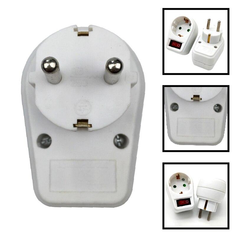 Tipo europeu plugue de conversão 1 para 1 vias padrão da ue tomada adaptador alimentação com interruptor neon indicador 16a plugues viagem