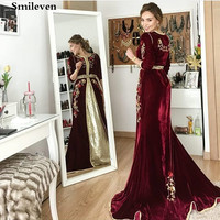 Smileven Dark Red Moroccan Kaftan Embroidery Evening Dresses Women Mother Dress Arabic Muslim Special Occasion Gowns