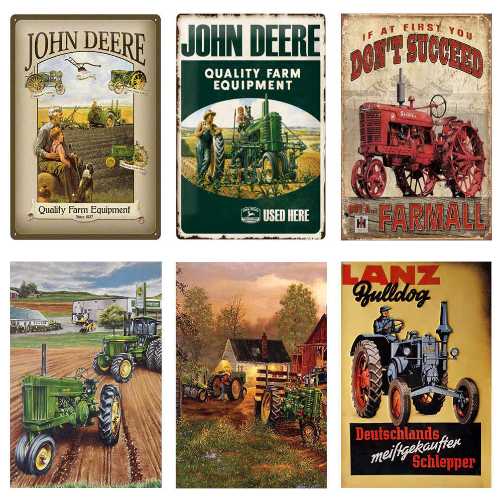 New John Deere Farm Equipment Tin Metal Sign Art Vintage Style Man Cave Tractor