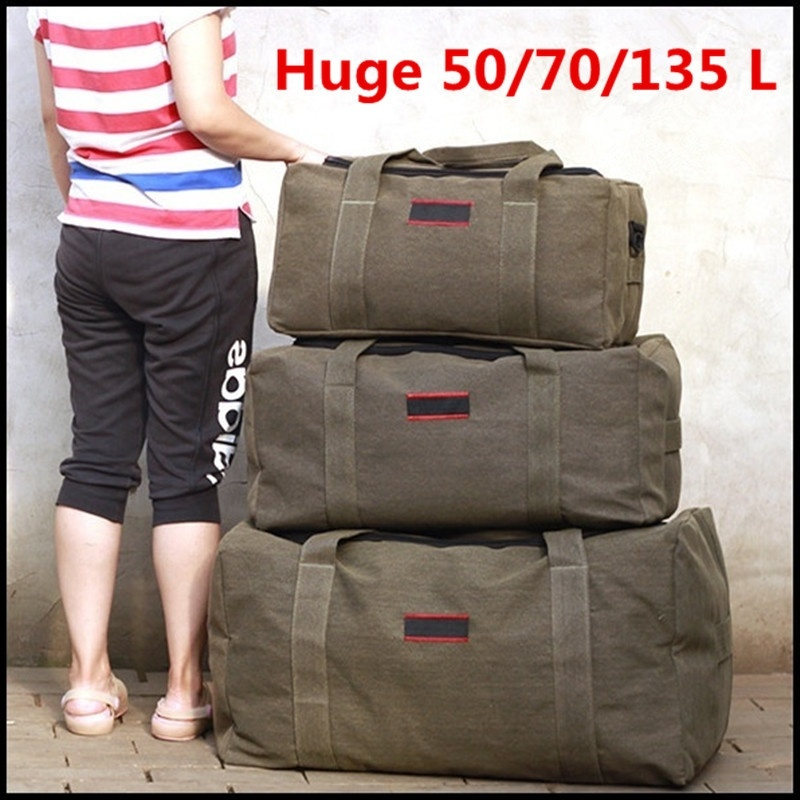 Large Capacity Canvas Travel Luggage Bag Outdoor Travel Duffle Bag image