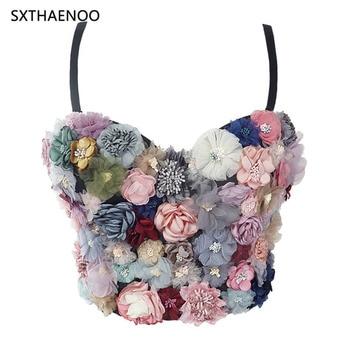 SXTHAENOO Sexy & Charming Applique Floral Corselets Women's Bachelorette Bustier Bra Cropped Top Wedding Bralette Vest 1