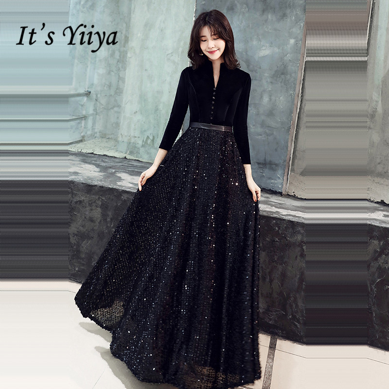 It's Yiiya Black Evening Gown V-Neck Botton Solid Patchwork Sequined Robe De Soiree K362 Three Quarter Sleeve Evening Dress 2020