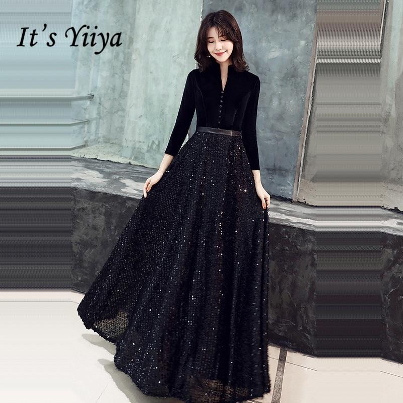 It's Yiiya Black Evening Gown V-Neck Botton Solid Patchwork Sequined Robe De Soiree K362 Three Quarter Sleeve Evening Dress 2020