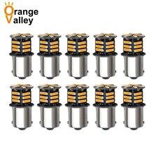 10 adet 1156 BA15S P21W S25 1459 21 LED 7020 SMD Canbus araba Styling ön dönüş sinyali lambası yedekleme ışıkları beyaz Amber