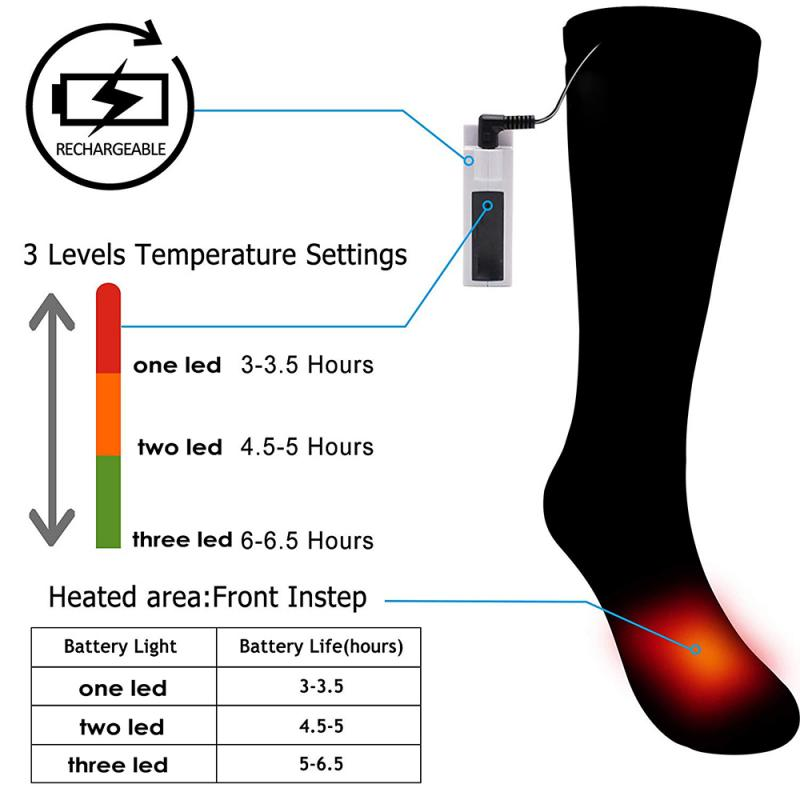 3.7V Thermal Cotton Heated Socks Sport Ski Socks Winter Foot Warmer Rechargeable Electric Hunting Hiking Camping  Men Women Sock