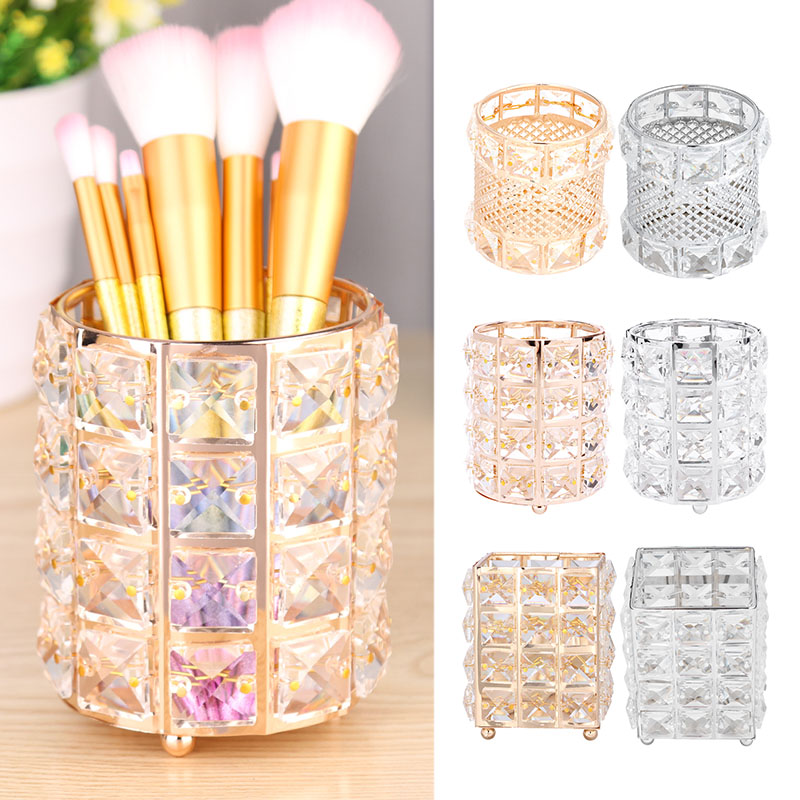 New Europe Metal Makeup Brush Storage Tube Eyebrow Pencil Makeup Organizer Bead Crystal Jewelry Storage Box Dropshiping