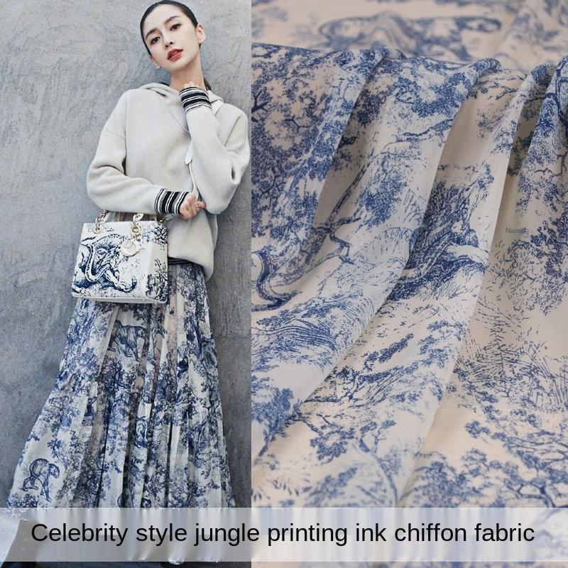 Printed Polyester Velvet Chiffon Fabric Brand Clothing Diy Dress Skirt Wedding Dress Perspective Cloth Fabrics Cloth for Sewing