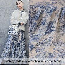 Printed Polyester Velvet Chiffon Fabric Brand Clothing Diy Dress Skirt Wedding Dress Perspective Cloth Fabrics Cloth for Sewing