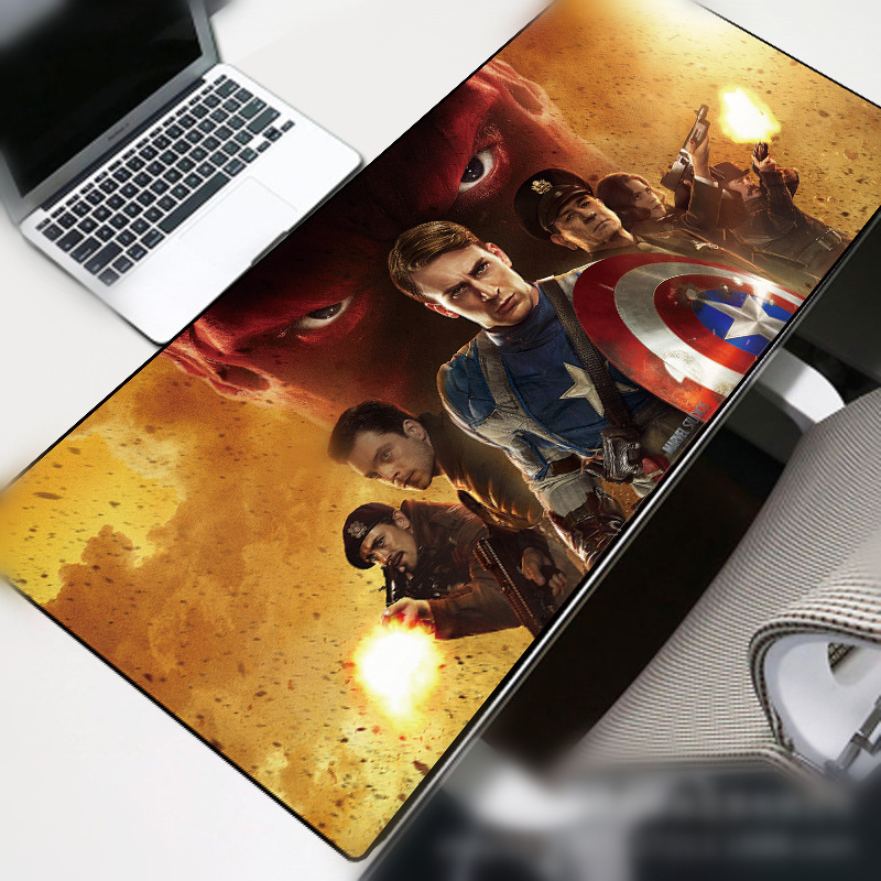 Captain America  Mouse Durable Desktop Mousepad gamer mouse mat high quality DIY picture with edge locking Portable waterproof