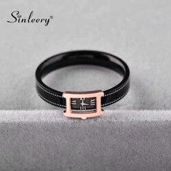 SINLEERY Chic montre forme acier inoxydable anneaux Rose or couleur noir bracelet Rectangle anneaux pour femmes mode bijoux JZ665 SSA