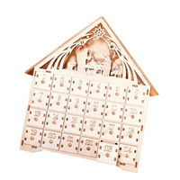 Christmas Calendar Wooden 24 Day Countdown To Christmas Advent Calendar Premium Christmas Decor Light Up Nativity Wood Sundries