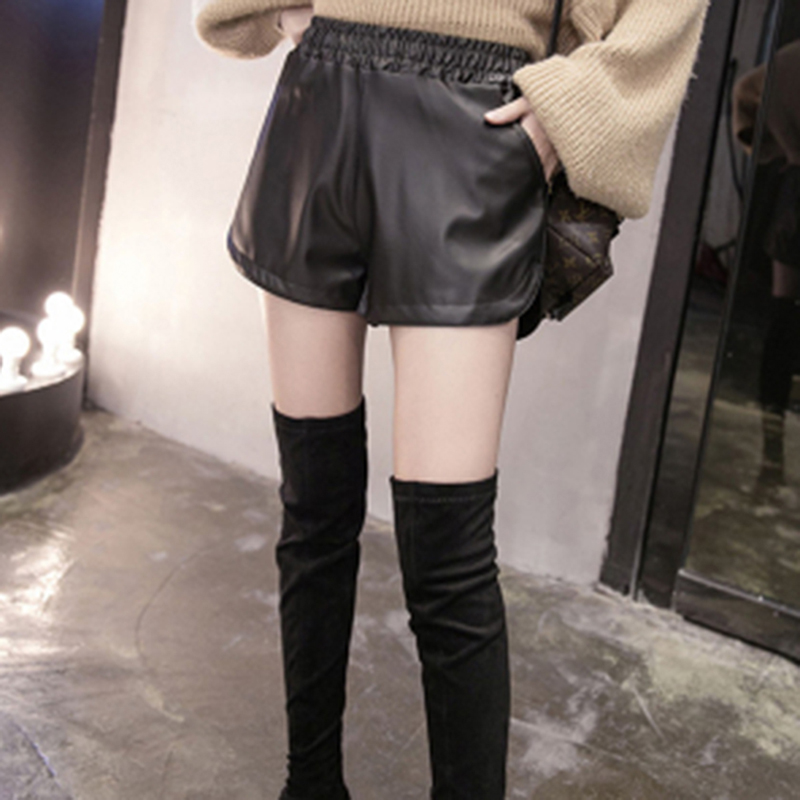 New Fashion Plus Size Women PU Leather Heigh Quality Shorts Hot Sale High Waist Shorts Girls Faux Leather Shorts Bottoms